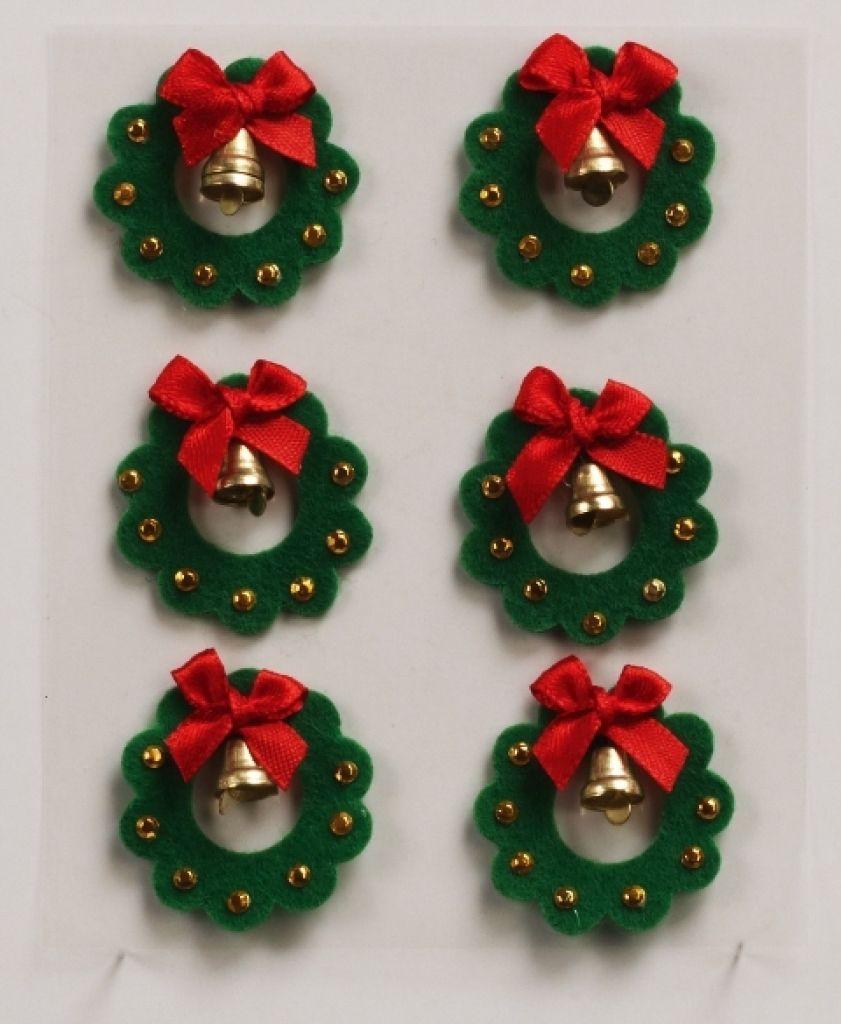 Christmas Wreath Felt Embellishments Decoraciones Festivas  ~ Manualidades De Adornos Navideños
