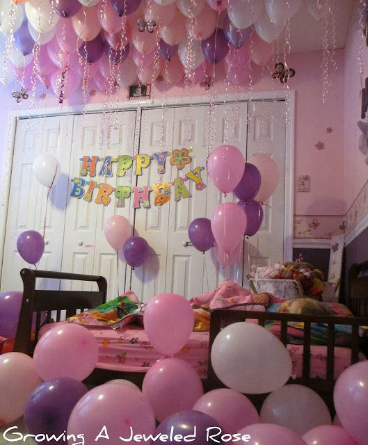 Fill childs room with balloons for birthday so they can for Hotel room decor for birthday