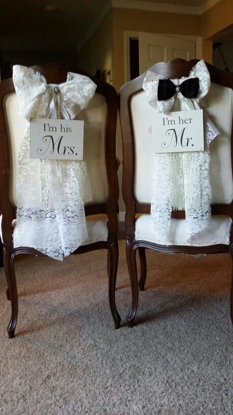 Bride & Groom Chairs by Flea and Farm Mercantile