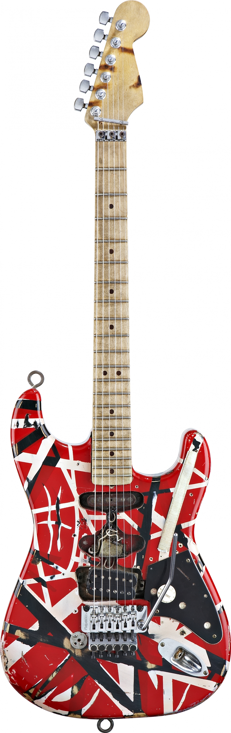 Eddie Van Halen S Original Homemade Frankenstrat Built By Him At Home For 130 Dollars Made From A Stratocaster Ash Body Music Guitar Eddie Van Halen Guitar