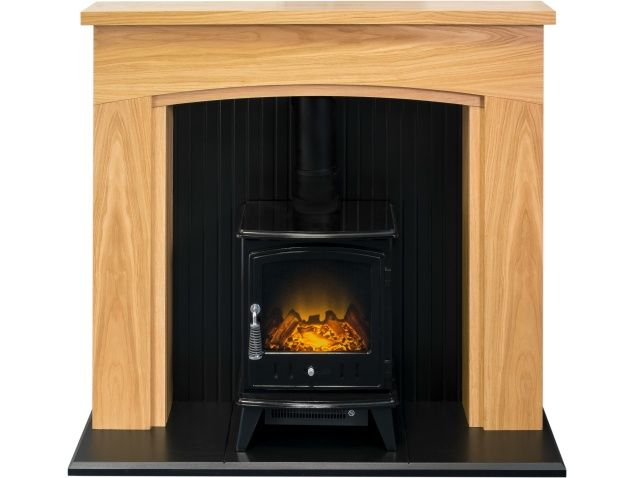 Adam Turin Stove Suite In Oak Black With Aviemore Electric Stove In Black 48 Inch Ideas For The House In 2019 Electric Stove Fireplace Suites Home Applia