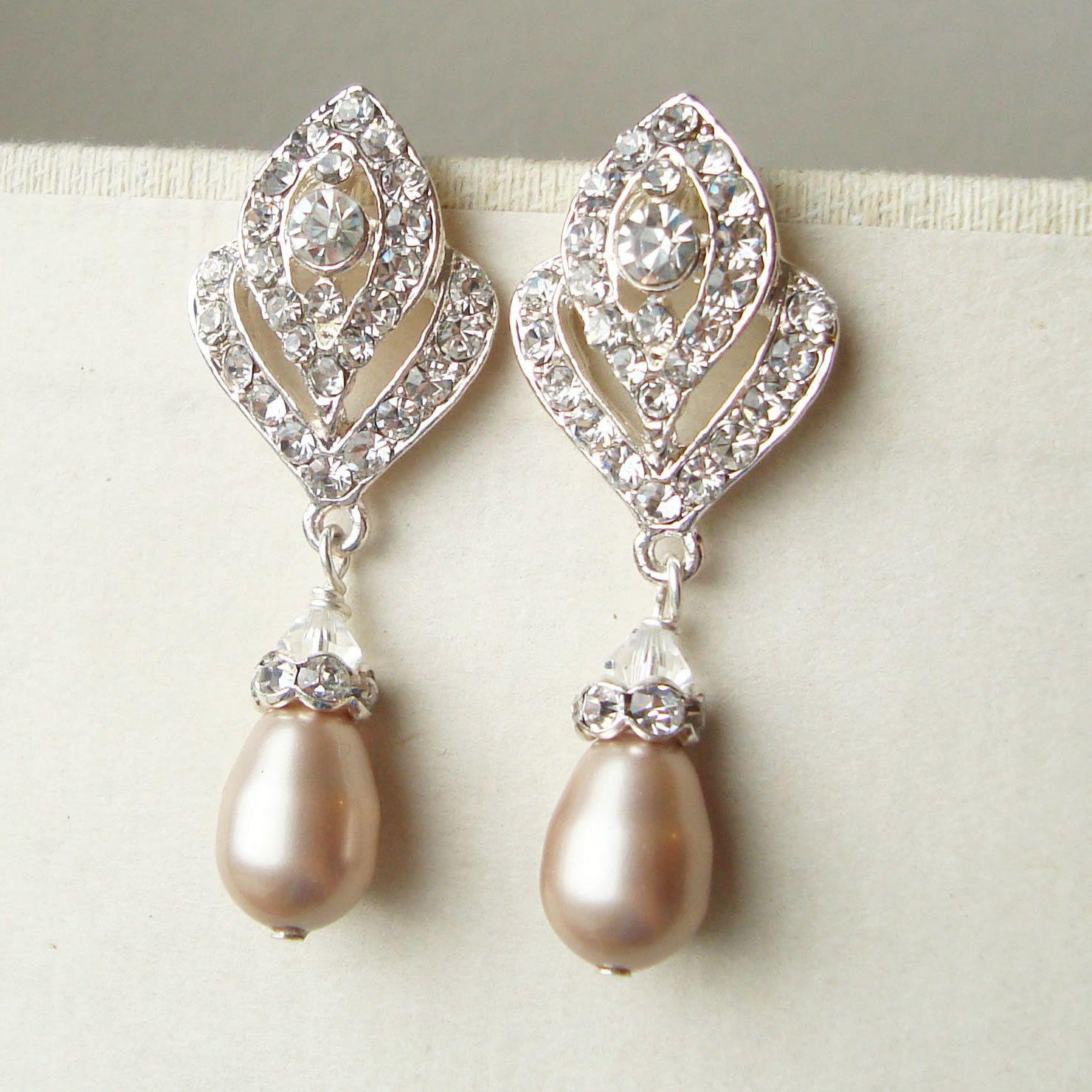 Wedding Jewelry Art Deco CHAMPAGNE Pearl Earrings by luxedeluxe ...