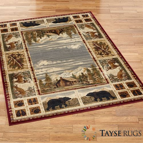 The Hunter S Cabin Rustic Area Rugs Feature A Setting Surrounded By Woodland Items Including Leaves Pawprints Bears And Deer