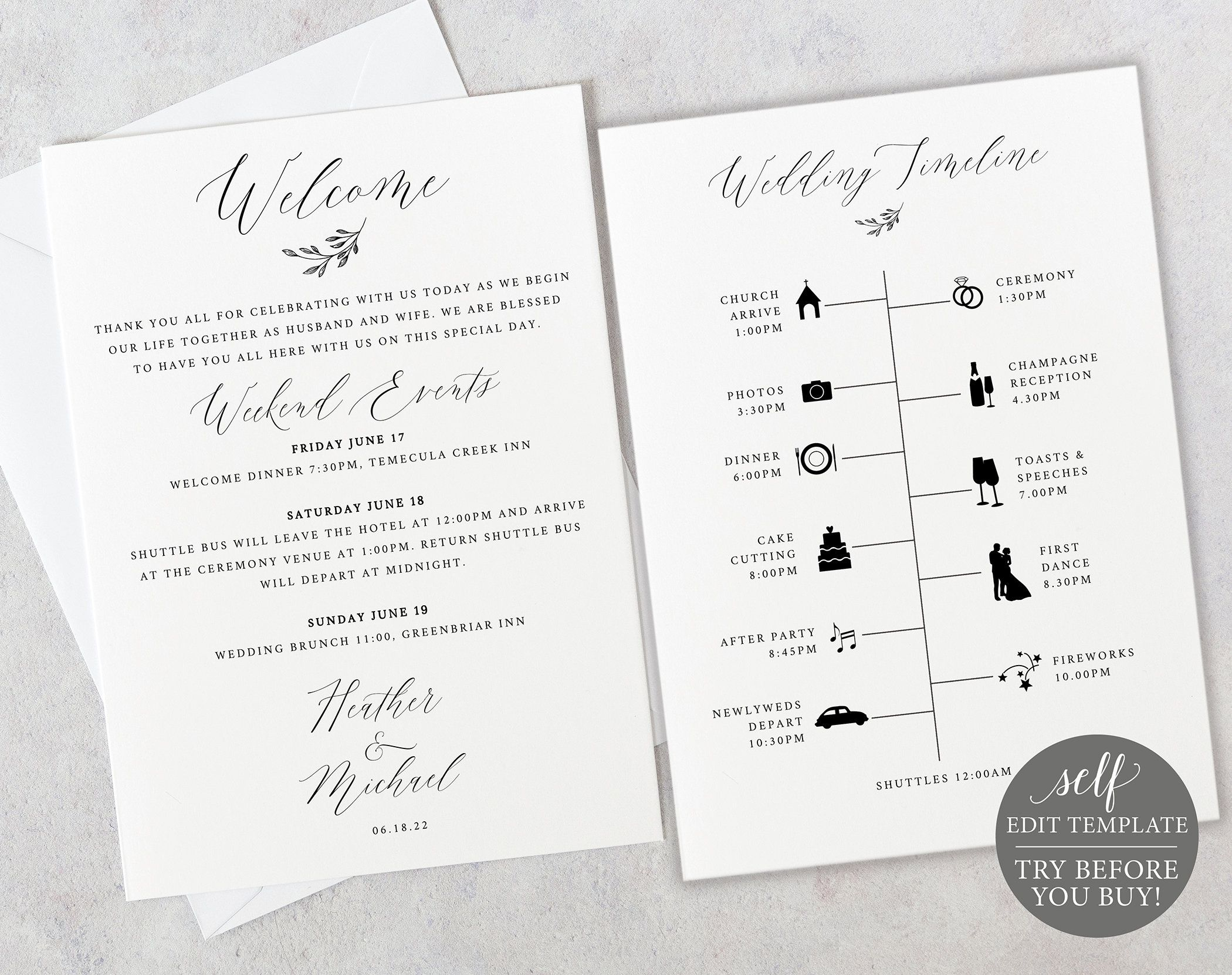 Wedding Timeline Card Template Demo Available Printable Editable Instant Download Delicate Script Wedding Itinerary Wedding Timeline Welcome Card