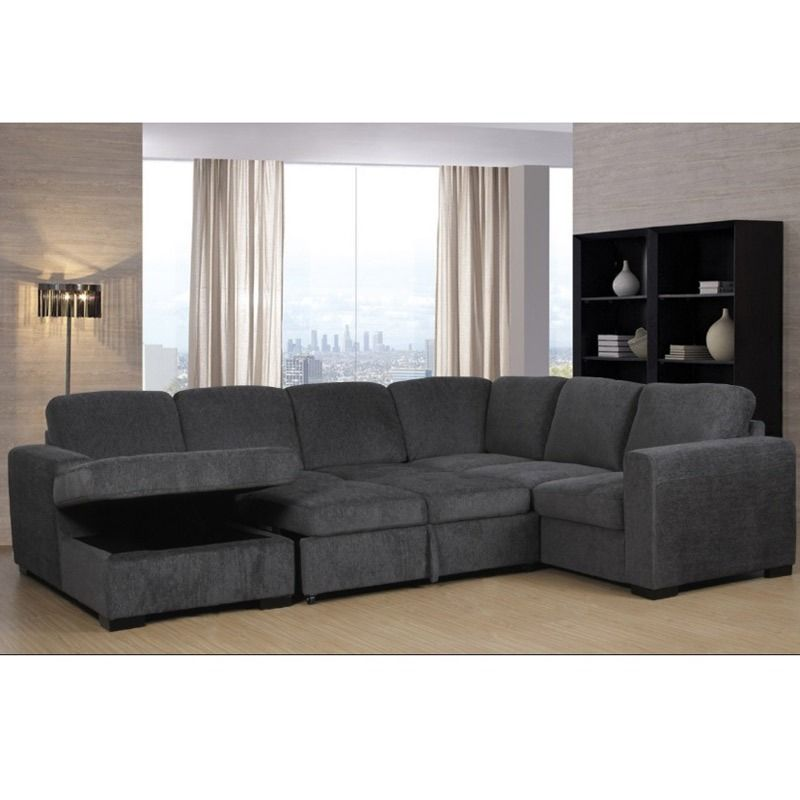 Claire Full Sleeper Sectional With Storage Chaise | Weekends Only Furniture  And Mattress