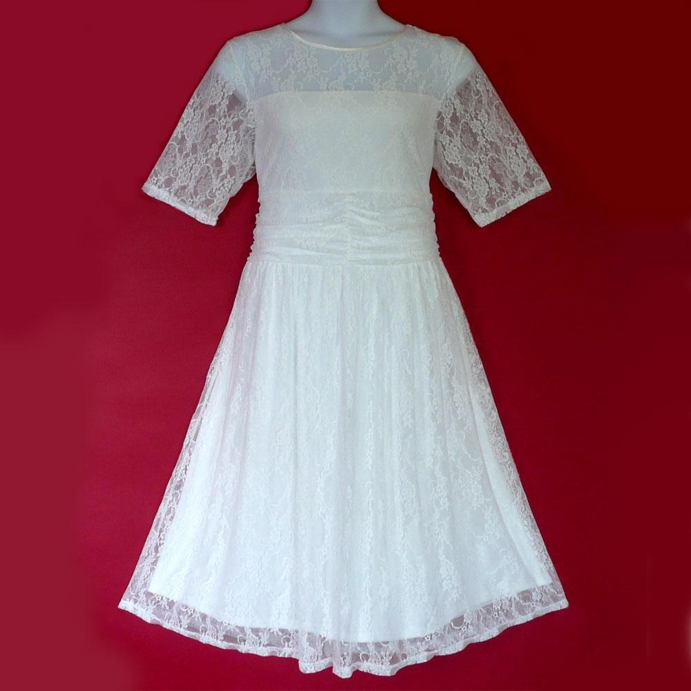 PB13 - 1X 2X 3X Sheer Lace Ruched Waist Casual Wedding Tea Dress White Ivory in Clothing, Shoes & Accessories, Wedding & Formal Occasion, Wedding Dresses | eBay