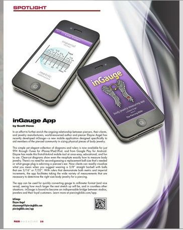 Pain Magazine Spotlight on InGauge, my new mobile app for measuring body jewelry. Cool!