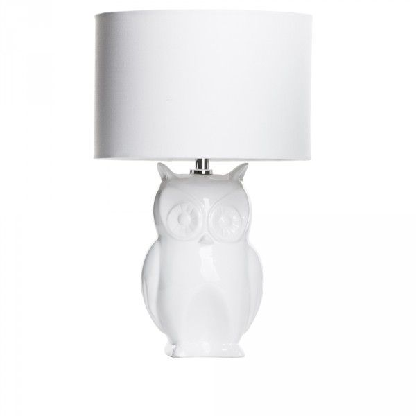 Owl 1 Light Table Lamp with Shade - White from Litecraft