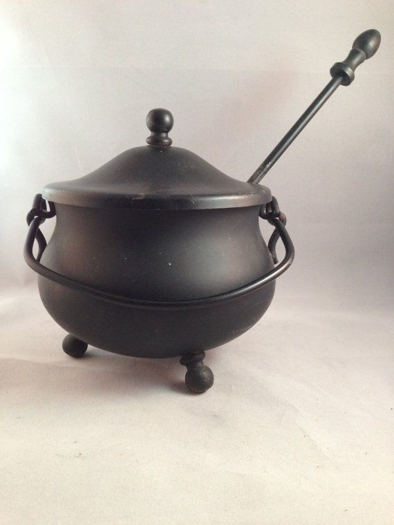 Antique Smudge Pot, Cast Iron Fire Starter kettle With Pumice Wand, Cast Iron Fireplace Starter from Picsity.com