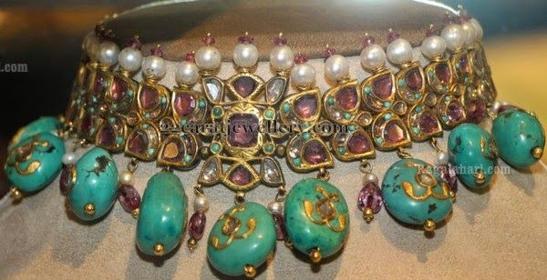 Jewellery Designs: Choker with Turquoise Drops