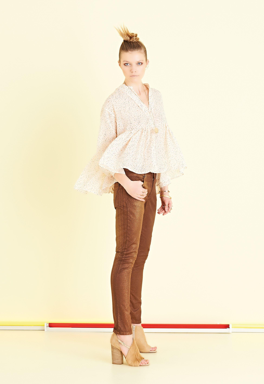Camicia in crepon stampato a piccoli pois colorati, larga, corta, perfetta   #ottodAme #FW15