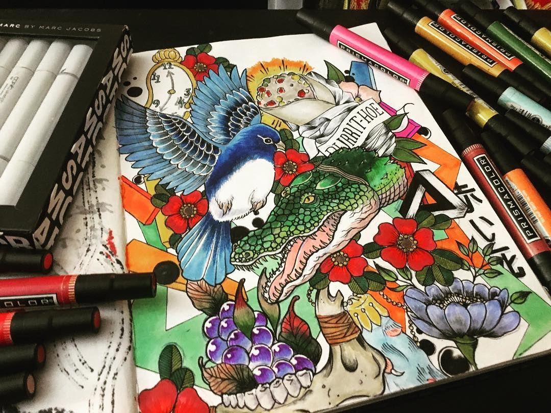 Burrit-Hoes... #esyintl #stlzre #pen #ink #marker #prismacolor #copic #multiliner #sketchbooks #illustration #draw #modern #luxury #fresh #fly #dope #new #ig #burrito #alligator #marcjacobs