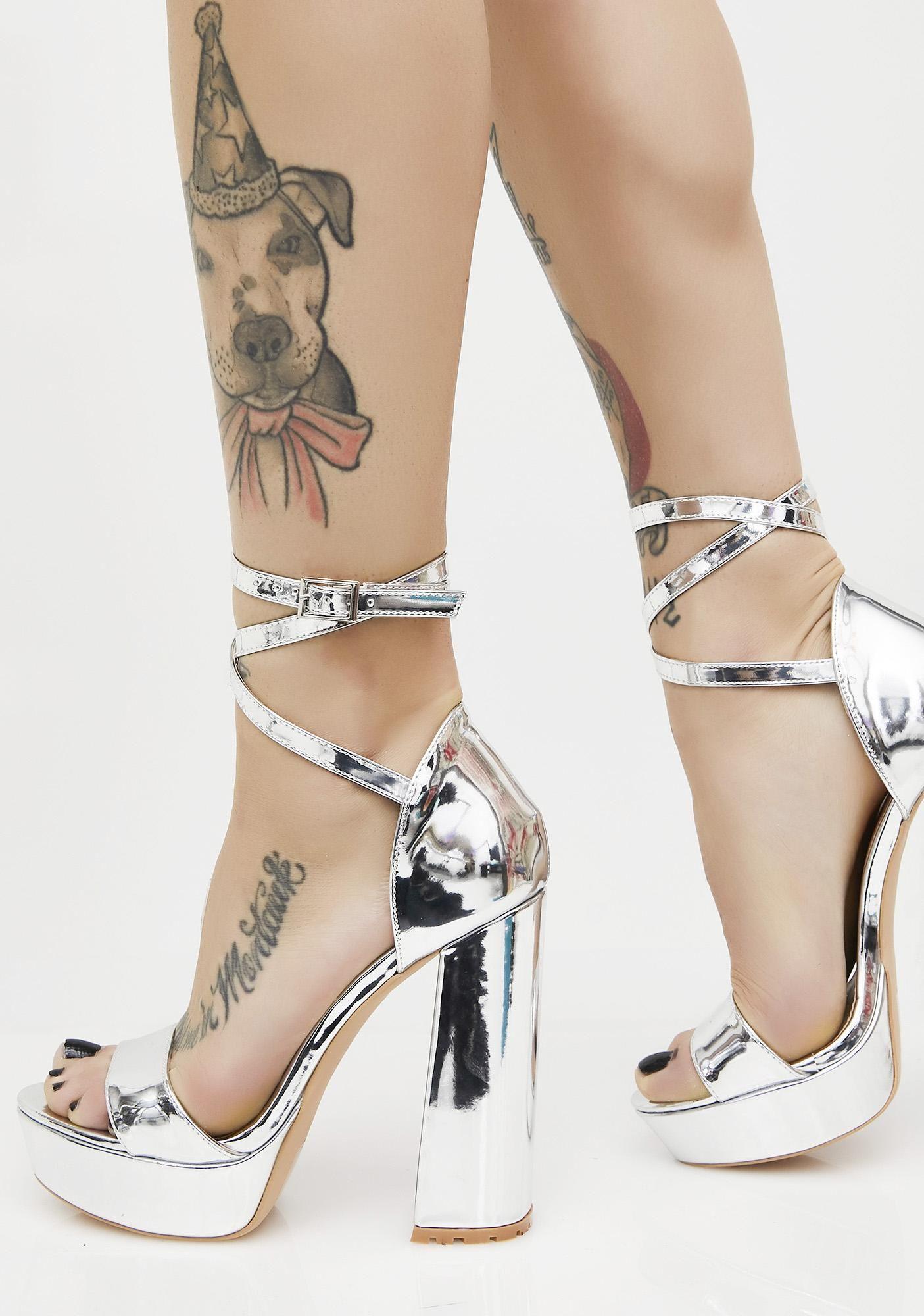 d6887eca5d5 Platinum Mars Strappy Flared Heel Platforms. Public Desire ...