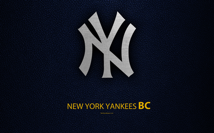 Download Wallpapers New York Yankees 4k American Baseball Club American League Eastern Division Leather Texture Logo Mlb New York Usa Major League Bas New York Yankees Logo American Baseball League Yankees