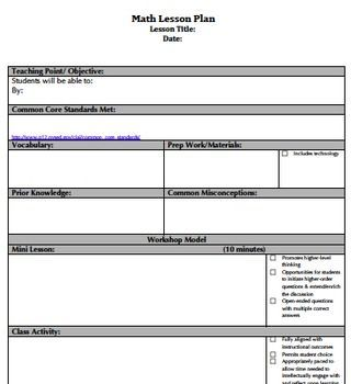 Core  Danielson Aligned Lesson Plan Templates  Lesson Plan