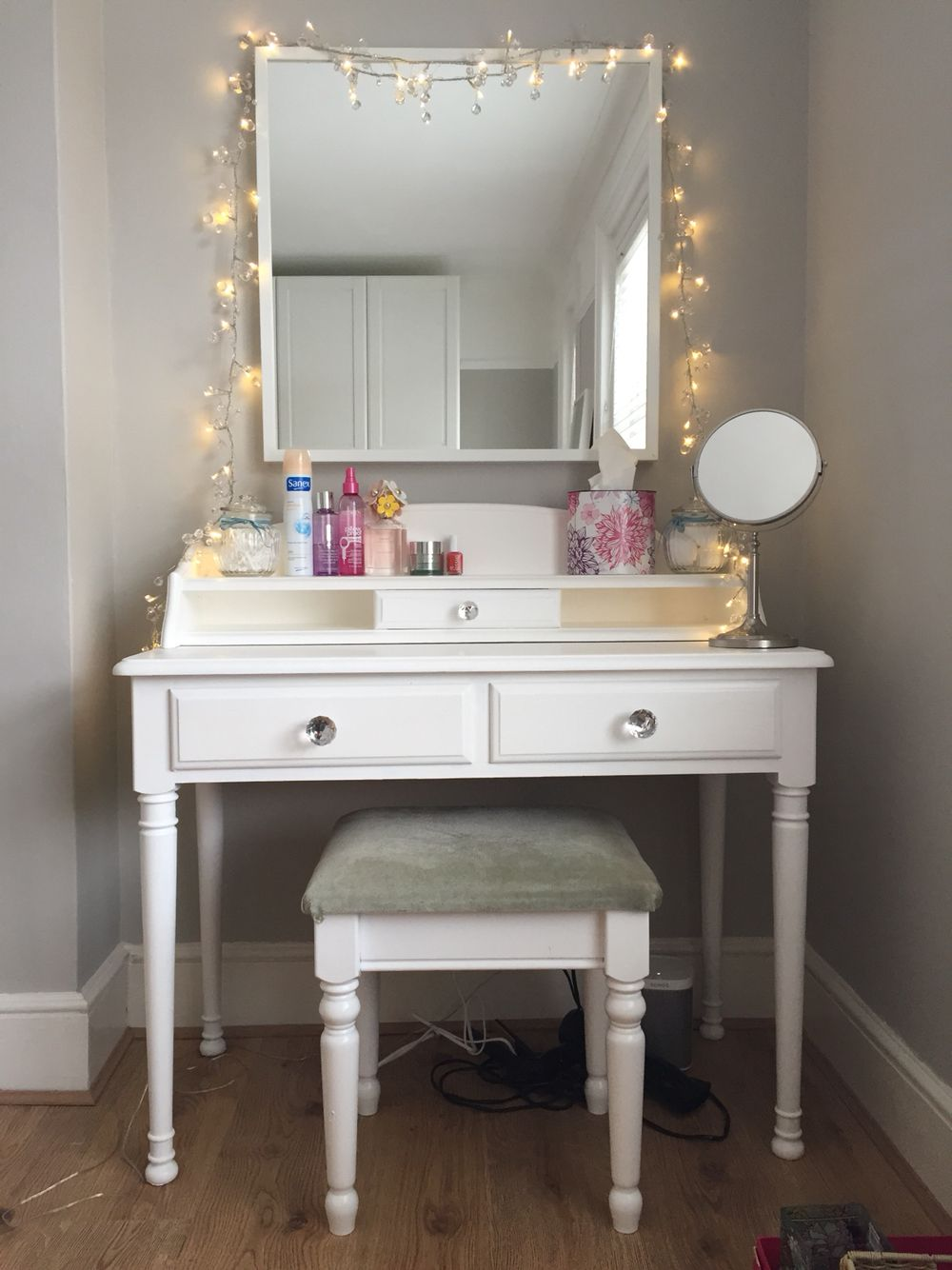 Bedroom fairy lights ikea - My Line Dressing Table Up Cycled Ikea Mirror And Some Fairy Lights Job Done