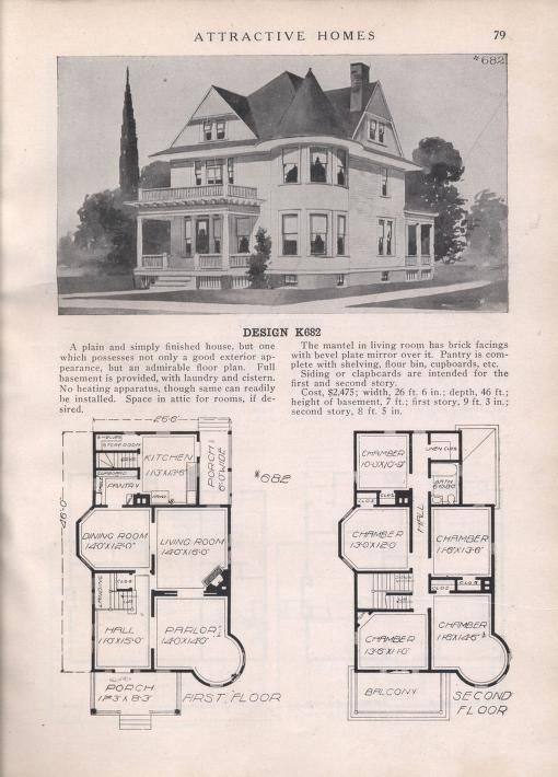 Attractive Homes Vintage House Plans Historical House Plans Simple Floor Plans