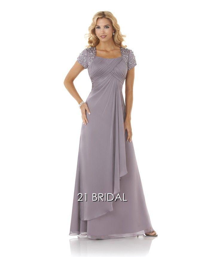 A-line Chiffon Appliques Square Floor-length Short Sleeve Special Occasion Dress E16536 - 21bridal