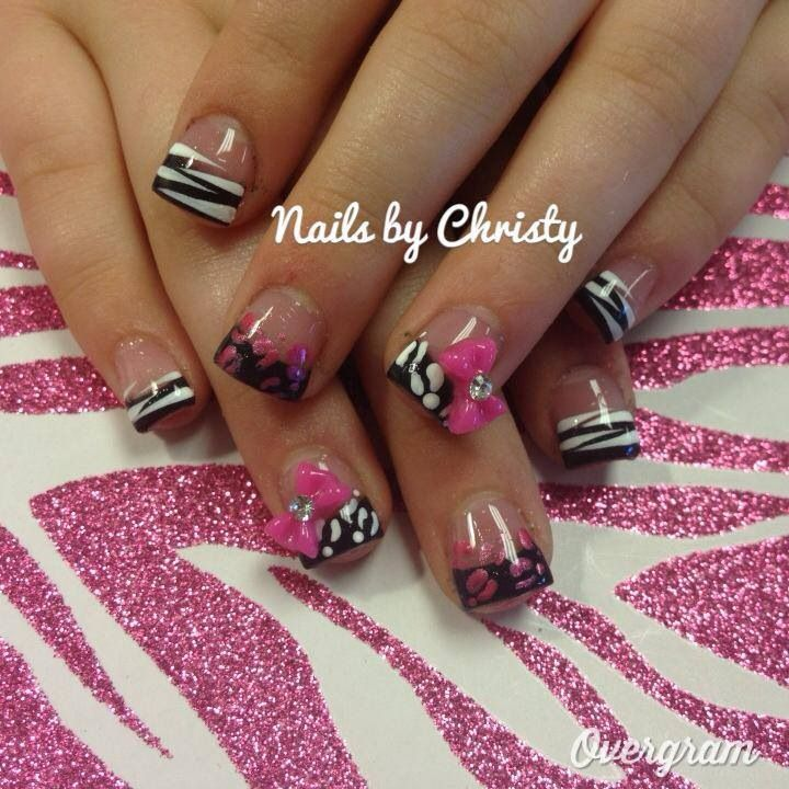 Black, white, pink, zebra and leopard French tip with bow nail ...