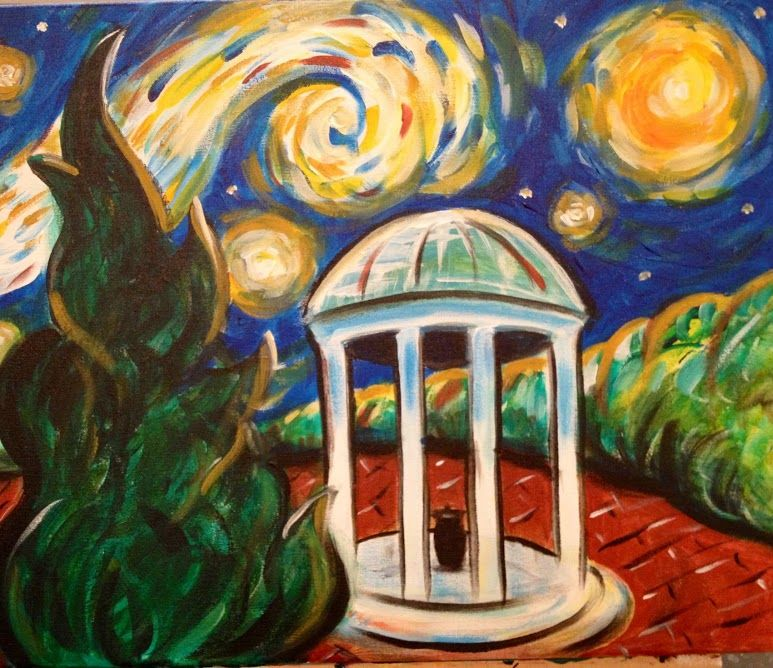 Unc Chapel Hill Old Well Starry Night Wine Design Painting