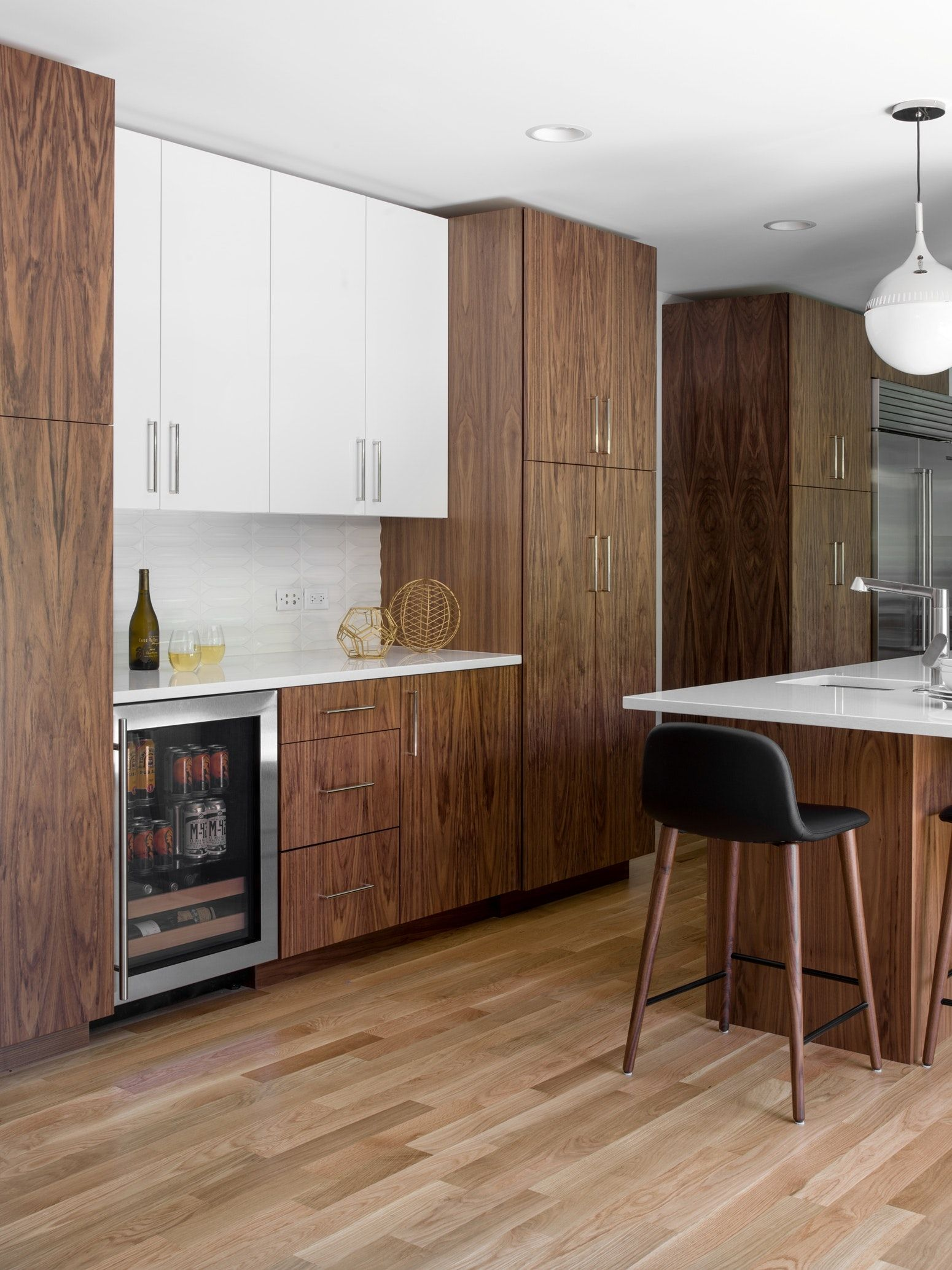 Mid Century Modern Kitchen Remodel Walnut And Acrylic Cabinets