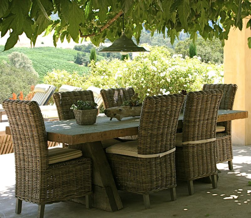 rustic outdoor tables wicker chairs from marshalls garden love pinterest wicker