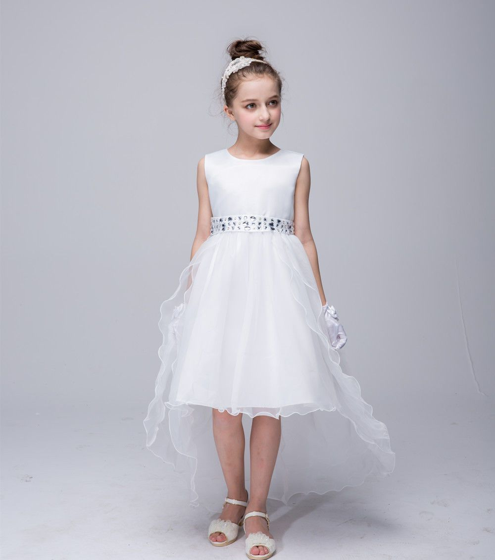Wedding pageant party girls princess dress diamond trailing formal