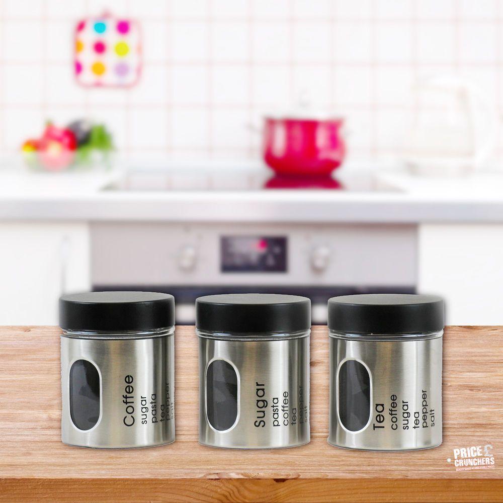 3 Pc Tea Coffee Sugar Jar Canisters Set Kitchen Storage Jars Black