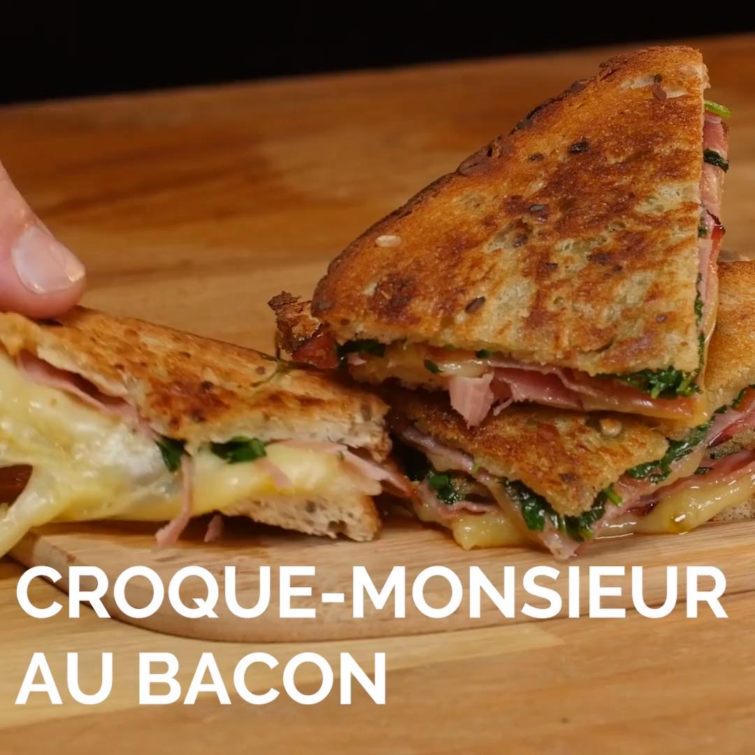 Croque croustillant au bacon et fromage #croquemonsieur