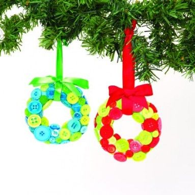 Transform polystyrene rings with colourful buttons for fab festive decorations - we show you how over on our blog...