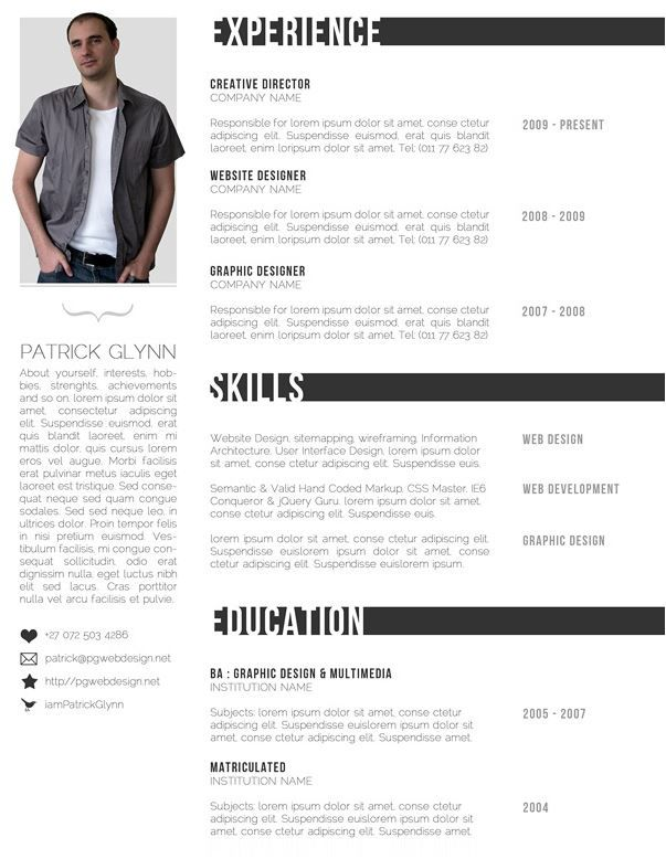 Black \ White designers resume Creative resume templates - one page resumes