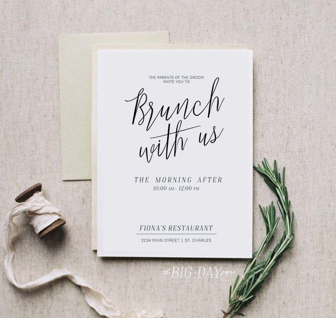 Brunch With Us Printable Morning After Brunch Invitation Digital File Bridal Brunch Wedding Wedding Brunch Invitations Brunch Wedding Brunch Invitations