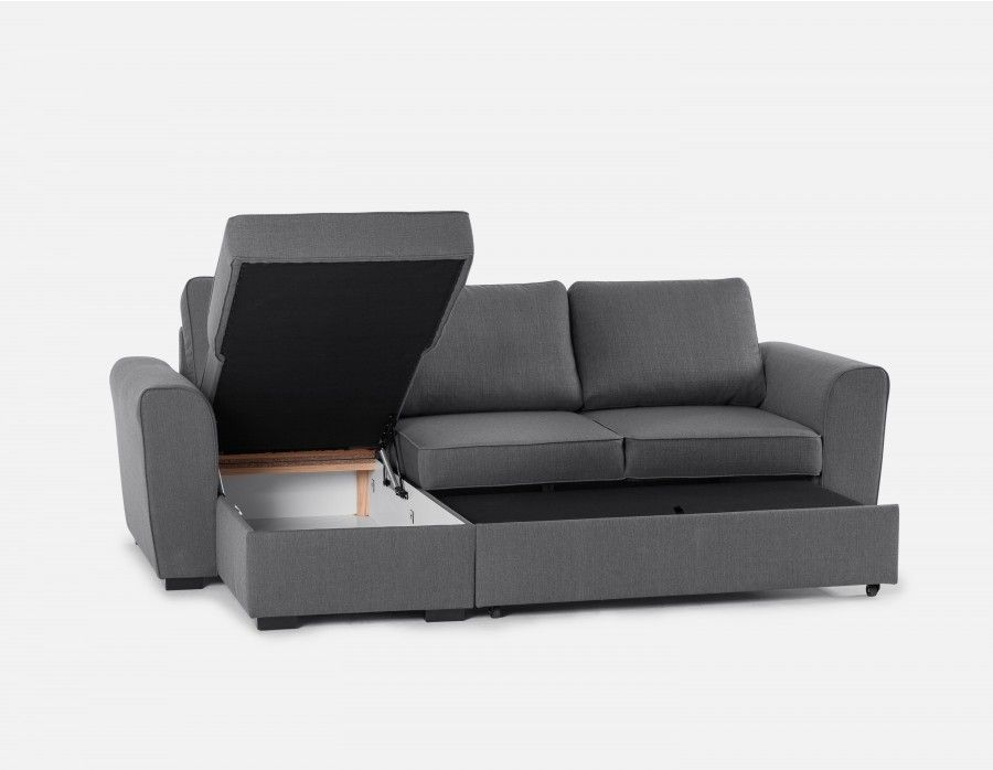 Berto Interchangeable Sectional Sofa Bed With Storage Grey