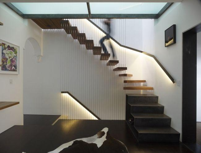 moderne harfentreppen designs holzstufen einbauleuchten geländer, Innenarchitektur ideen