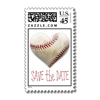 baseball heart save the date postage weddings engagement and