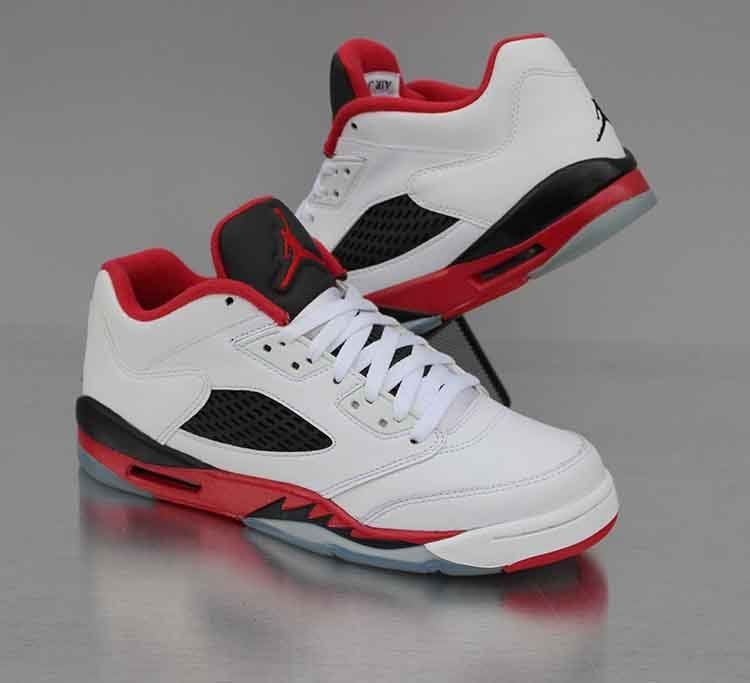 100% authentic 3e207 85db9 Nike Air Jordan 5 Retro Low GS Fire Red White 314338-101 Size 7Y WMNS