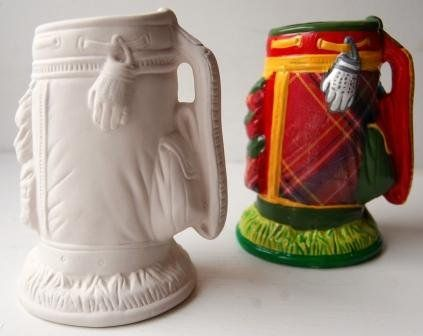 Bisque Unpainted Ceramic Shapes Golf Bag Pencil Holder Ceramics Handmade Gifts For Men Bisque