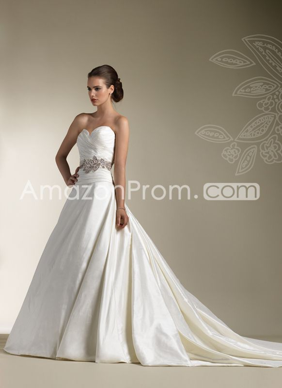 Glamorous A-line/Princess Sweetheart Floor-length Chapel Pleats Wedding Dresses