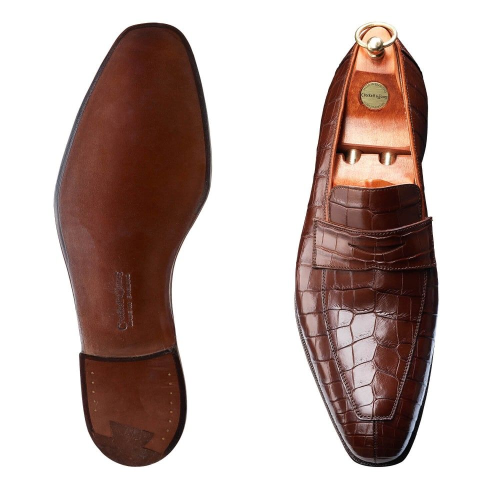 Merton Tan Crocodile | Crockett & Jones