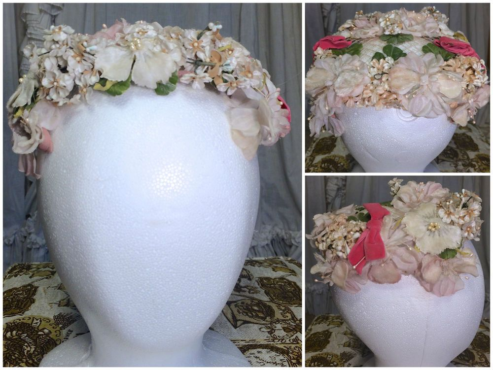 50s White Pink Flowers Leaves Velvet Bows Blossoms Headpiece Crown Hat