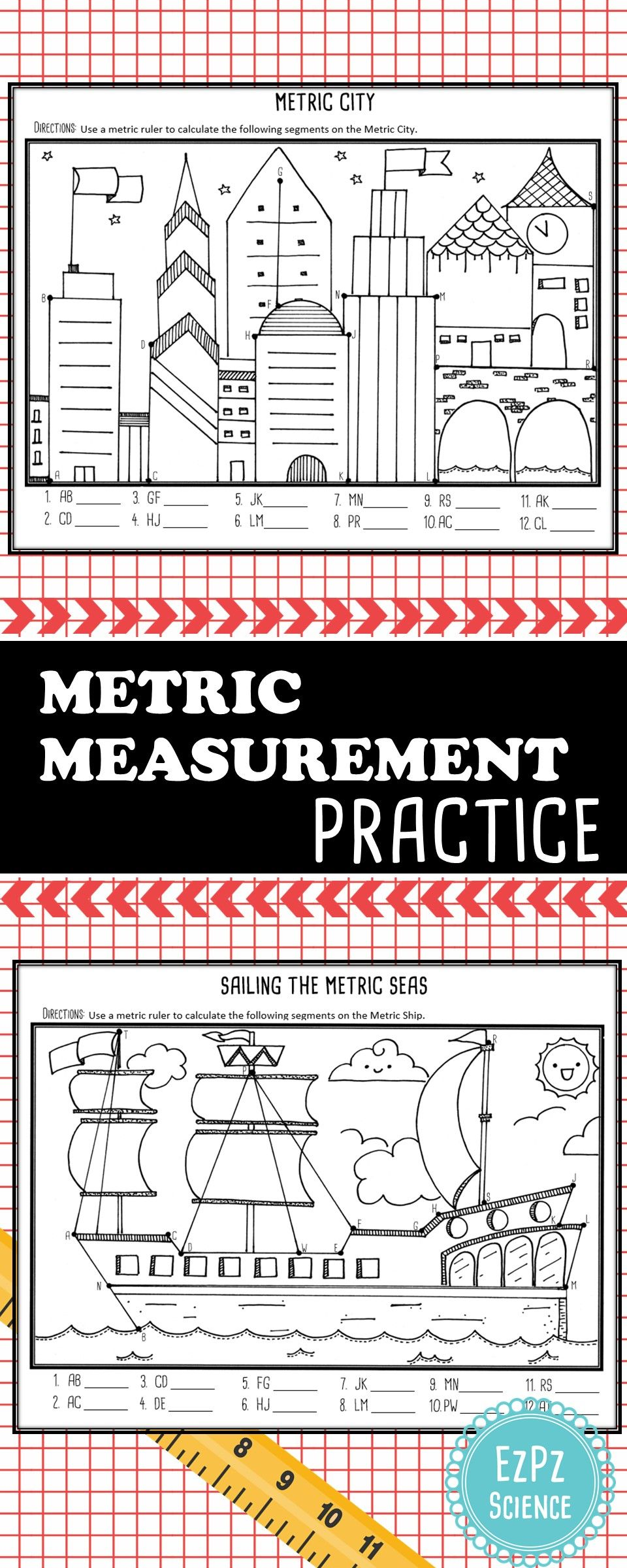 A fun way to get students to practice measuring using the metric system!    Measurement activities [ 2400 x 960 Pixel ]