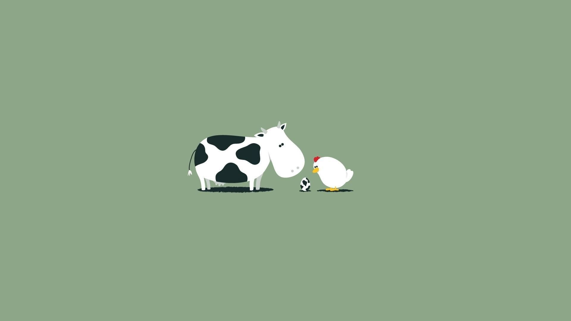 Cow, chicken and the egg, cow and hen illustration #funny #1920x1080 #chicken #1080P #wallpaper #hdwallpaper #desktop