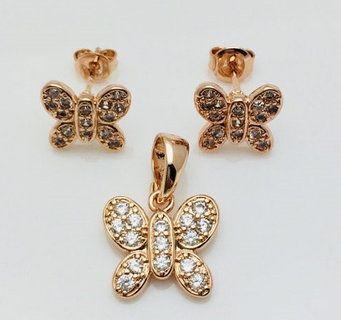 Набор Бабочка, серьги гвоздики+ кулон   Серьги, Бижутерия ...