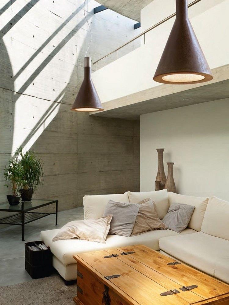 Beton Pendelleuchten in Rostoptik im Wohnzimmer | Einrichten und ...