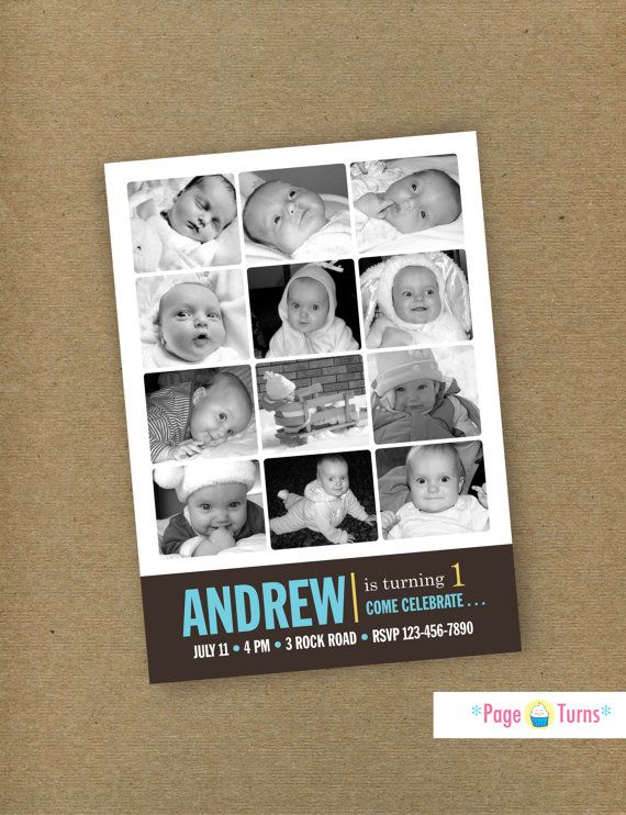 Custom Card 12 Month First Birthday Photo Collage Birthday