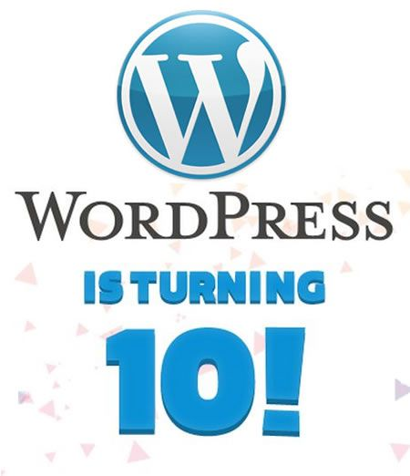 Happy 10th Anniversary WordPress. It was 10 years ago today of the first release of WordPress.