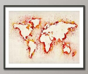 Map of the world map abstract painting art print 183 etsy map of the world map abstract painting art print 183 gumiabroncs Gallery