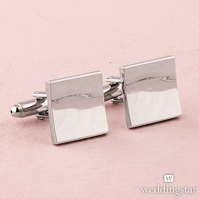Classic Square Cufflinks in Shiny Silver Plating - One Pair