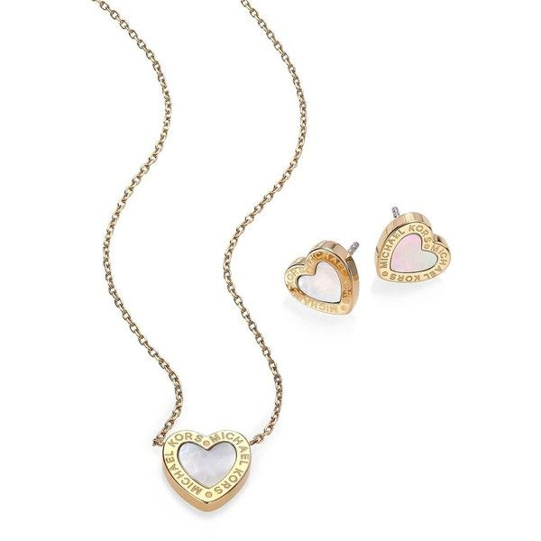 Michael Kors Mother Of Pearl Heart Stud Earrings Pendant Necklace