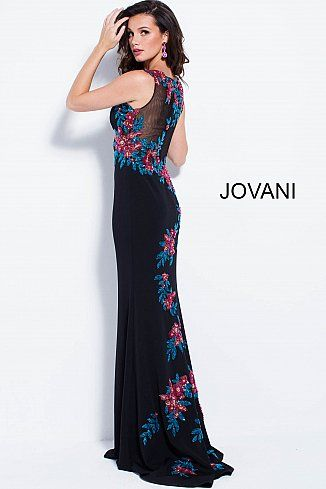 Black Multi Floral Appliques Fitted Sleeveless Prom Dress 58030 ...